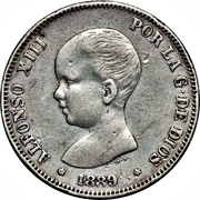 2 pesetas Alphonse XIII cheveux courts -  avers
