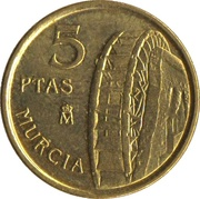 5 pesetas Murcie -  revers