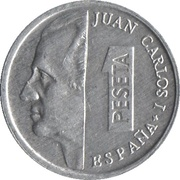 1 peseta Juan Carlos I lentille -  avers