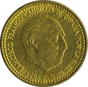 1 peseta Franco 1re effigie -  avers