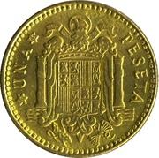 1 peseta Franco 1re effigie -  revers