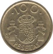 100 pesetas modèle 100 pas de points -  revers