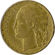 1 peseta La blonde -  avers