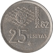 25 pesetas Juan Carlos I Coupe du monde de football 1982 -  revers