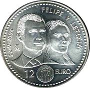 12 euros Mariage du prince Felipe avec Letizia -  revers