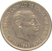 5 pesetas Franco nickel -  avers