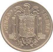 5 pesetas Franco nickel -  revers