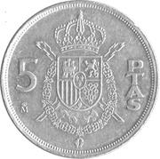 5 pesetas Juan Carlos I M couronné -  revers