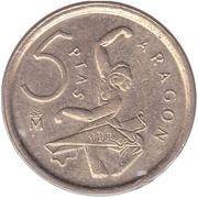 5 pesetas Aragon -  revers