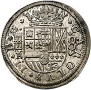 8 reales Charles II frappe au balancier – avers