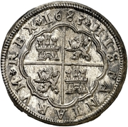 8 reales Charles II frappe au balancier – revers