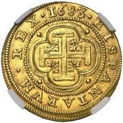 4 escudos Charles II Ségovie frappe au balancier -  avers