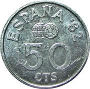 50 centimos Juan Carlos I Coupe du monde de football 1982 -  revers