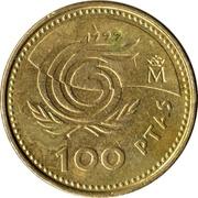 100 pesetas Année internationale des personnes âgées -  revers