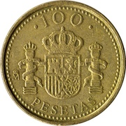 100 pesetas Juan Carlos I modèle 100 avec des points -  revers