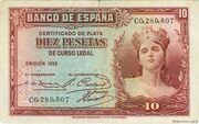 10 pesetas Silver Certificate – avers
