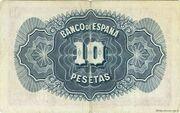 10 pesetas Silver Certificate – revers