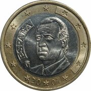 1 euro Juan Carlos I (2e carte, 1er type) -  avers