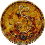 "5 Pesetas (""Las Planas d'Hostoles"" Cooperative Union Token; countermarked ""U"") – revers"