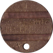 Telephone Token - CTNE (3 grooves; T with diamond background on 1 side) – avers
