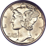 "10 cents ""Mercury Dime"" -  avers"