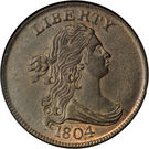 """½ cent """"Draped Bust"""" – avers"""
