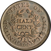 "½ cent ""Draped Bust"" – revers"