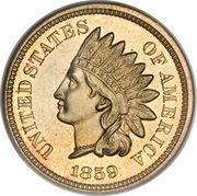 """1 Cent """"Indian Head"""" (sans bouclier) – avers"""
