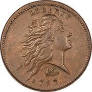 "1 cent ""Flowing Hair"" (couronne au revers) – avers"