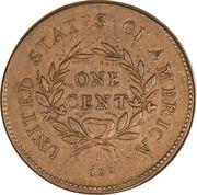 "1 cent ""Flowing Hair"" (couronne au revers) – revers"