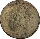 """1 cent """"Flowing Hair"""" (chaîne sur le revers) – avers"""