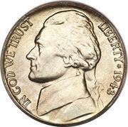 """5 cents """"Jefferson Nickel"""" (temps de guerre) -  avers"""