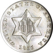 3 cents (1er type, étoile non surlignée) – avers