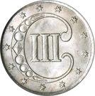 3 cents (1er type, étoile non surlignée) – revers