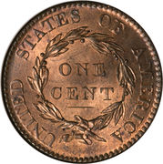 "1 cent ""Coronet / Matron"" (Type 1) – revers"