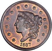 "1 cent ""Coronet / Matron"" (Type 2) – avers"