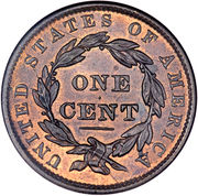 "1 cent ""Coronet / Matron"" (Type 2) – revers"