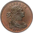 """1 cent """"Draped Bust"""" – avers"""