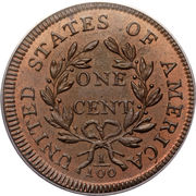 """1 cent """"Draped Bust"""" – revers"""