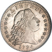 "5 cents ""Flowing Hair Half Dime"" – avers"