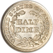 "½ Dime ""Seated Liberty Half Dime"" (flèche vers la date) – revers"