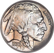 "5 cents ""Buffalo Nickel"" (sol plat) -  avers"