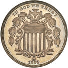 "5 cents ""Union Shield"" (avec rayon) – avers"