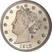 "5 cents ""Liberty Nickel"" (avec ""CENTS"") -  avers"