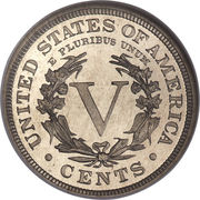 "5 cents ""Liberty Nickel"" (avec ""CENTS"") -  revers"