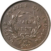 "½ Cent / 1/200 Dollar ""Liberty Cap - Half Cent"" – revers"