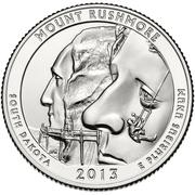 """¼ Dollar """"Quarter Mount Rushmore"""" (argent) -  revers"""