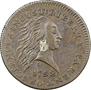 "1 cent ""1792 With and without Silver Center"" -  avers"