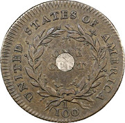 "1 cent ""1792 With and without Silver Center"" -  revers"