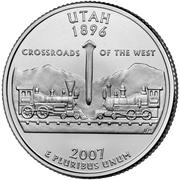 """¼ Dollar """"Quarter Utah"""" (cupronickel) -  revers"""